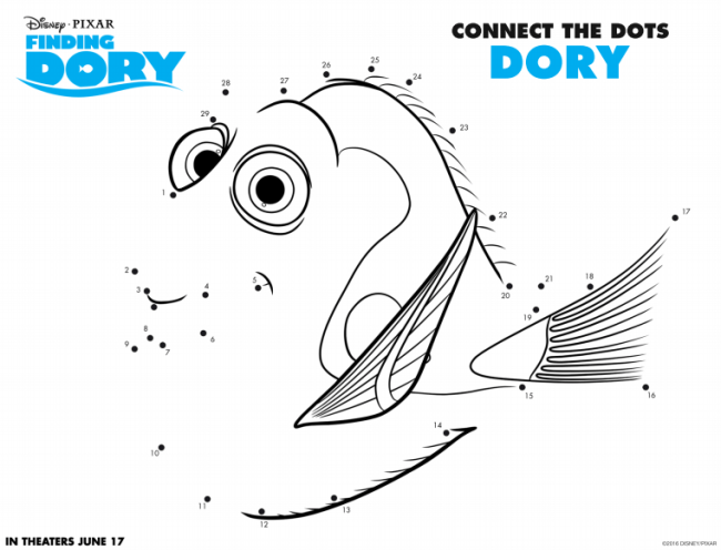 Finding Dory Connect the Dots - Free Finding Dory Activity Sheets via nickisrandommusings.com